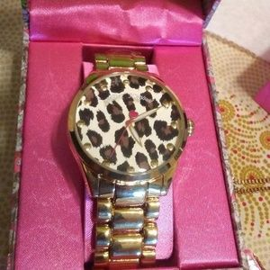 GOLD-TONE LEOPARD FACE CHAIN LINK WATCH BJ00636-35